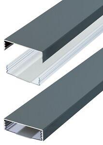 Flacher Design Aluminium Kabelkanal in Anthrazit Seidenm RAL7016 - Selbstklebend