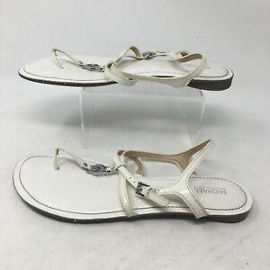 Michael Kors Bethany Thongs Slingback Flats Sandals Leather White Womens 9-9.5