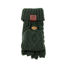 Aran atelier Womens Ladies hiver chaud Chunky Knit Fingerless Green basiques