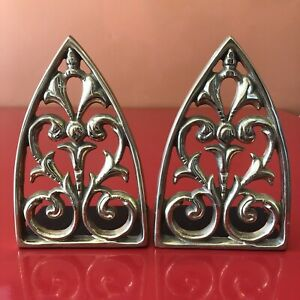 Vintage Cast-Iron Bookends Gold Tone Filigree Marked Fancy Heavy Holders Brass
