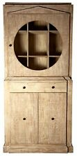 """87"""" T Cabinet Hand Crafted Reclaimed Douglas Fir Round Glass Panel Door Front"""
