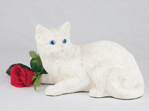 Cat Short Hair Figurine Urn, White