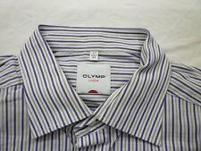 E7829 Olymp Luxor Businesshemd Kombimanschette 43 lila, grau, weiß gestreift Neu