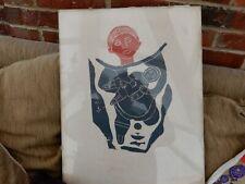 "1963 Canadian Inuit ""Leah Qumaluk"" large format small edition Stoneblock print"