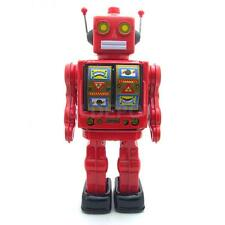 Vintage Battery Powered Rotated Walking Robot Metal Tin Toy Kids Collectible