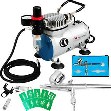Voilamart Air Brush Compressor Kit Needle Dual Action Airbrush Stencil Make Up