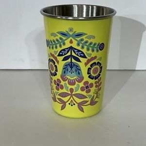 Set Of 6 True Brands Blush Stainless Steel Yellow Floral Cup Set