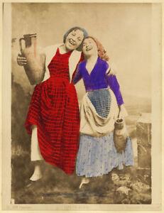 Sicilian costumes Two girls Carretto Two original handpainted photos 1890c XL329