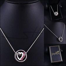 Geschenk Halskette Kette *Herz im Kreis*, Weißgold pl, Swarovski Elements, +Etui