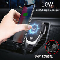 For Samsung Galaxy S10+ S9 Automatic Clamping Wireless Car Charger Fast Charging