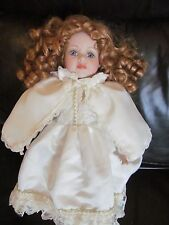 alberon red haired cream caped vintage porcelain 17 inch doll