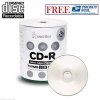 100 Pcs SmartBuy Blank CD-R CDR 52X 700MB/80Min Silver Inkjet Hub Printable Disc
