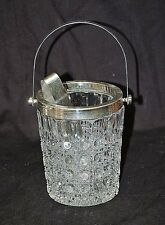 Old Vintage Ice Bucket Clear Glass Hexagon Button Dot Design w Ice Tongs Barware