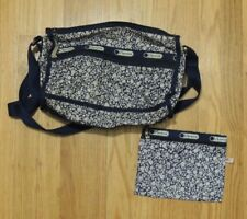 Lesportsac Deluxe Everyday Navy Blue Floral Crossbody Bag w/ Pouch Set