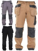 Mens WorkWear Trousers Cargo Combat Cordura Knee Reinforcement Utility Work Pant