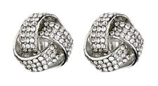 CLIP ON EARRINGS - silver knot earring with rhinestone crystals - Honey S