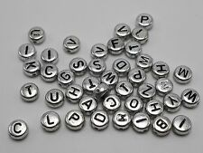 2500 Assorted Silver Acrylic Alphabet Letter Coin Beads 4X7mm