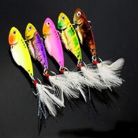 5pcs 5.5cm/11g Fishing Lure VIB Spoon Blade Metal Bream Bass Flathead 8# Hooks