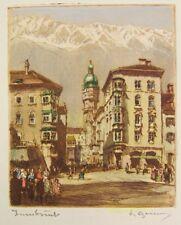 Colorierte aguafuerte-Innsbruck - 24,5 x 17,5 cm