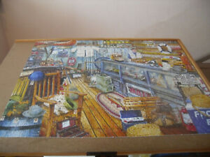 "SPRINGBOK 1000 piece puzzle, ""The Bait Shop"", one piece missing"