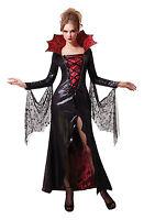 SEXY BLACK&RED MIDNIGHT VAMPIRESS WOMEN ADULT COSTUME FOR FANCY DRESS HALLOWEEN