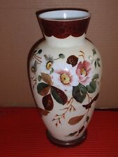 ANTIQUE / VINTAGE HAND PAINTED MILK GLASS VASE  FLORAL  / BUTTERFLY 12.5 INCHES