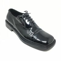 Men's Prada Oxfords Dress Shoes Size 8.5 UK/9 M US Black Leather Cap Toe AH7