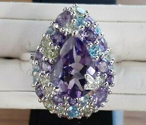 Sterling Silver/Rhodium Amethyst Blue Topaz Peridot Diamond Cluster Ring Sz 10.5