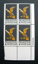 Sc # 1344 ~ Plate # Block ~ 6 cent Register and Vote Issue