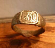 Anillo de Monograma Bronce medieval Post Grande Con 'M' - Metal detectar encontrar