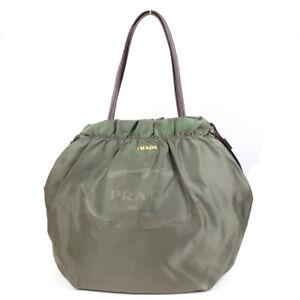 PRADA Tote Bag logo nylon green