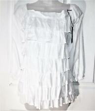 NEW GORGEOUS LADIES WHITE RUFFLE FRONT BLOUSE ~ TOP SIZE 14  #  953