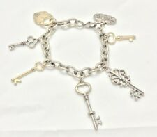 Disney Couture Alice In Wonderland Key Charm Bracelet Dual Tone Limited Rare