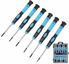 6PC PRECISION SCREWDRIVER SET MAGNETIC TIPS FLAT SLOTTED PHILLIPS + STORAGE CASE