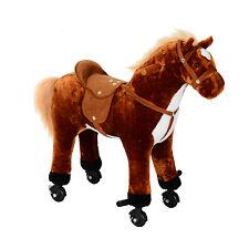 HOMCOM – Cavallo Giocattolo con Suoni per Bambini con Ruote in Peluche