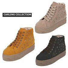 New Women's Ladies Studded High Top Flatform Trainers Girls Ankle Boots Size 3-8