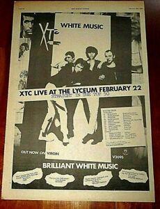 XTC WHITE MUSIC & TOUR 1978 FULL PAGE PRESS ADVERT POSTER SIZE  37/26CM