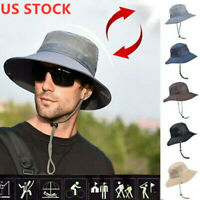 USA Men's Sun Hat Bucket Fishing Hiking Cap Wide Brim UV Protection Hat summer