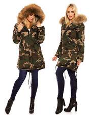 Damen Jacke Parka 100% Echt Pelz XXL Fell Raccoon Mantel Winter Army EP-16029