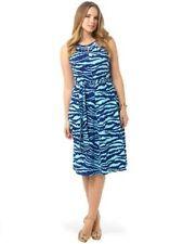 Lands' End Aqua Blue Zebra Print Keyhole A Line Midi Dress 1X 16W 18W Stretch