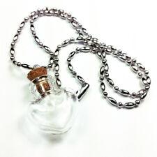 "Mini Empty Glass Bottle Charm Kit Necklace ""Heart"" 18 Inch 1 pc"