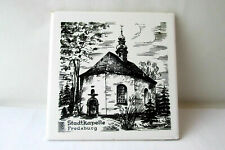 Vintage German hand-painted black and white porcelain tile. Church
