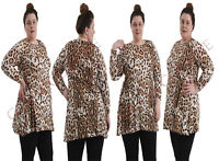 Women Plus Size Top Ladies Leopard Animal Print Tunic Swing Skater Style