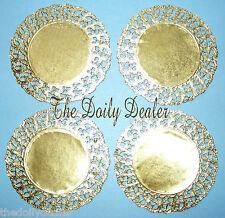 GOLDEN FOILED PAPER LACE DOILY CIRCLES 12CM X 10