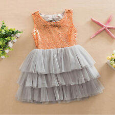 Kids Baby Girl Sequin Dress Bow Backless Formal Party Gown Bridesmaid Tutu Dress 9pcs Headband One Size