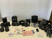 5 Vintage Film Cameras with Accessories and Carrying Cases