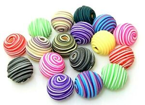 20 Random Assorted 14mm Fimo Polymer Clay Spiral Wrapped Round Wood Beads