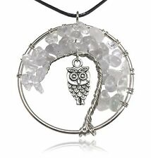 Clear White Owl Tree of Life Stone and Wire Pendant Necklace