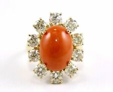 Fine Oval Cut Orange Coral Ring w/Channel Diamond Halo 14k Yellow Gold 11.40Ct