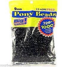 Darice Black Beads 1000 Pcs Plastic Craft Beads Pony Beads 9mm Jewelry Beads New